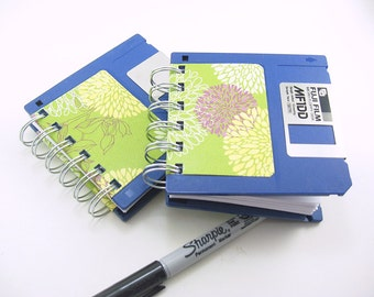 Blue Floppy Disk Notebook, Blank To Do Pad, floral, small notepad, spiral bound book. stocking stuffer, recycled, yellow, green to do list