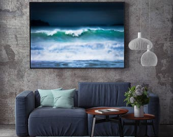 Teal Large Seascape Canvas, large canvas, dramatic, Teal, blue, White Oversized Print - Loft Art, Extra Large, hipster, waves