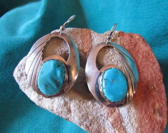 Turquoise Navajo Earrings Ronnie Hurley Navajo /Vintage Turquoise Sterling Silver Earrings/Ideal Engagement Gifts