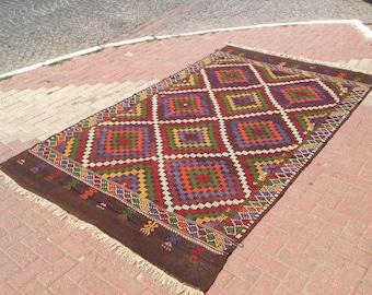 Large Kilim rug, 118'' x 70.5'' , Vintage Turkish kilim rug, area rug, kelim rug, vintage rug, bohemian rug, Turkish rug, rug, geometric,469