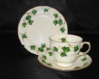 Colclough Ivy leaf fine bone china trio