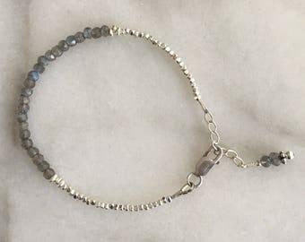 Labradorite Crystal Silver Bracelet - Karen Hill Tribe Silver Beaded Bracelet- Bride Maid Bracelet - Silver Bracelet