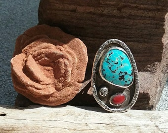 Vintage Navajo Turquoise and Coral Sterling Silver Ring Size 8/Native American Jewelry