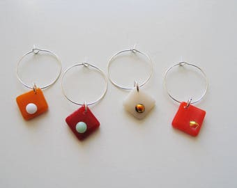 Wine Glass Charms, Fused Glass, Set of 4, Orange Sorbet set