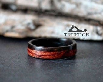 Ebony and waterfall bubinga  Handmade Bentwood ring