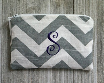 """Monogrammed Cosmetic Bag -  Zippered Pouch -  Make Up Bag - Purple """"S"""""""