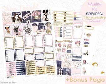 Planner Stickers, Printable stickers, Use with Erin Condren, Passion, glam, Planner, New Years stickers, weekly kit, cut files, EC, ECLP kit