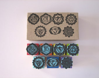Set of 7 rubber stamps of  7 CHAKRAS. Hand-carved & with gift box.