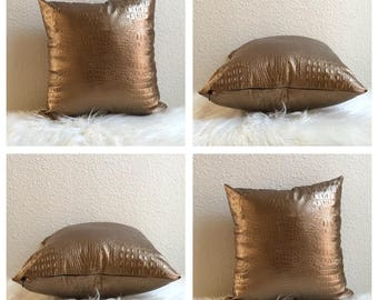 12x12 Gold Faux Leather Pillow Cover