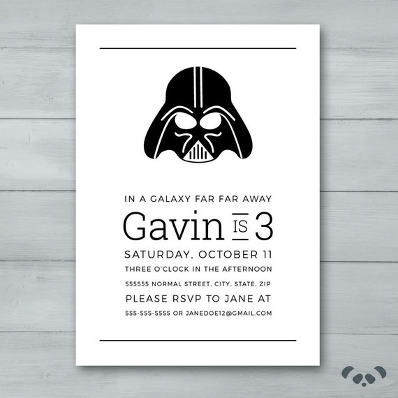 darth vader birthday party invitation darth vader invite. Black Bedroom Furniture Sets. Home Design Ideas