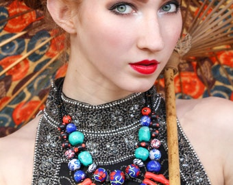 Colorful Statement Necklace / Tribal Jewelry / Red and Blue Necklace / Eclectic Jewelry
