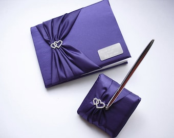 Purple Wedding Guest Book, Personalized, Engraved Guest Book and Pen Set with Linked Hearts and Engraving