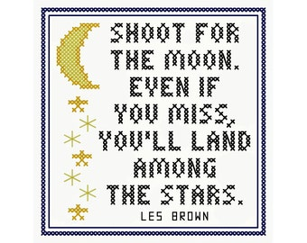 Shoot for the Moon - Original Cross Stitch Ornament Chart | Inspired by Les Brown