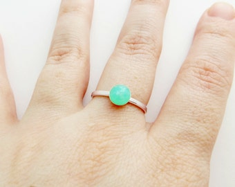 Green Chrysoprase 925 Sterling Silver Ring - Stacking Ring