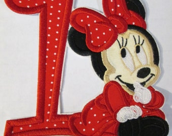 Iron On Applique - Baby Girl Mouse Birthday Number One Embroidered Custom Made Applique