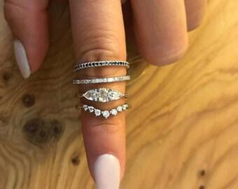 Rose Cut Diamond Ring - Oval Rose Cut Three Stone - 18k White Gold Diamond Engagement Ring