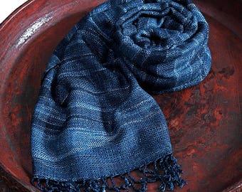 Hand Woven Cotton Indigo Dyeing Stole (TX-062-03)