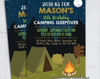 Printable Camping Birthday Party Invitation -- Summer Camp Boy Scouts Girl Scouts Campfire Bonfire Camping Sleepover Slumber Party