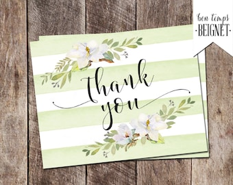 "Printable Thank You Card - Magnolias and Green Stripes - 5.5""x4.25"""