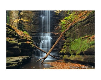 """Fine Art Color Landscape Nature Photography of Waterfall at Matthiessen State Park in Illinois - """"Lake Falls 1"""""""