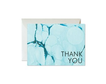 THANK YOU Aqua Agate Marble Notecards + Envelopes Pack | Boxed Set (8) | Abstract | Modern