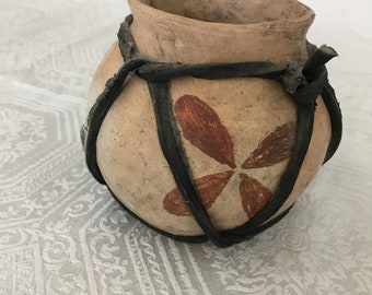 Small Authentic Hecho En Mexico Artisan Hand Made Pottery Pot