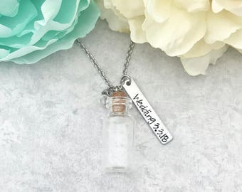 Beach Necklace for Women - Bridal Shower Gift for Beach Wedding - Empty Bottle Necklace - Glass Vial Pendant - Empty Bottle Jewelry