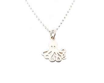 Octopus Charm Sterling Silver Necklace - You Octopi My Heart Necklace / Gift for Her / Simple Jewelry