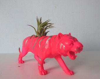 Upcycled Toy Planter - Neon Pink Tiger with Silver Stipes and Air Plant