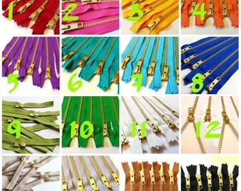 Choose Ten 6 inch brass metal zippers - brown, grey, red, hot pink, orange, sunflower, purple, green, turquoise, aqua, blue, white, black
