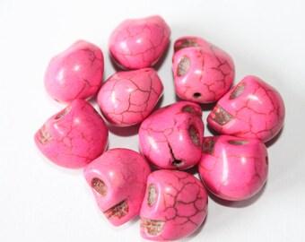Pearl skull 12 mm, pink, set of 10