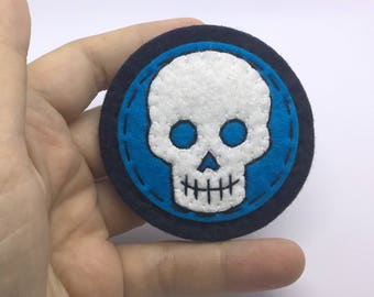 Skull Emblem Hand Sewn Wool Felt Pin