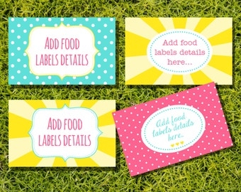 You Are My Sunshine Tent Cards, Food Labels, Buffet Cards, Food Tags, Labels - Instantly Downloadable File