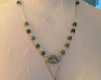 Moss agate, sterling silver, sea glass necklace