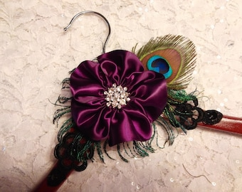Elegant Wooden Brides Hanger with Plum Flower and Peacock Feathers , Maid of Honor, Bridesmaid Dress Hanger, Elegant Wedding Dress Hanger