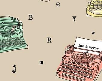Typewriter Fabric, Manual Typewriter Fabric, - Talk to Me - Ink & Arrow - Quilting Treasures - 24340 Khaki - Priced by the 1/2 yard