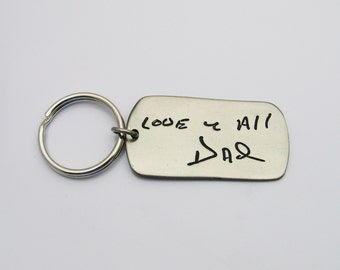 Handwriting Keychain, Handwriting Dog Tag Keychain, Dog Tag Keychain, Gift for Men, Rustic Keychain, Memorial, Signature