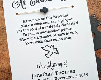 An Eternal Wish - Funeral Memorial Card - Wish Bracelet Party Favor Custom Made for You