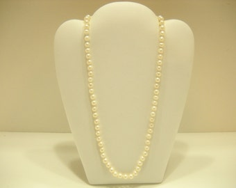"Vintage 5mm 19"" Faux Pearl Necklace (5200) Sterling Fastener"