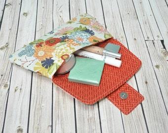 Makeup Bag - Makeup Clutch - Magnetic Clasp Bag - Flower Clutch Bag - Diaper Clutch