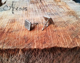 Stud Earrings - Boho Silver Earrings - Square Earrings - Square Stud - Silver Stud - Boho Stud Earrings - Oxidize Silver - Hammered stud