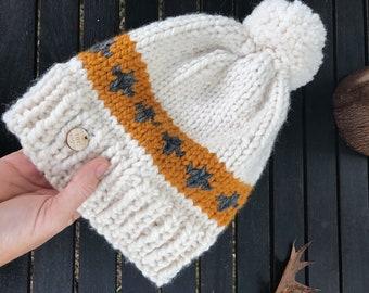 The Carrington - Chunky Knit Adult Size Beanie (cream/mustard/slate)