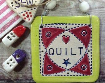 Ceramic Quilt hanging decoration, quilty, patchwork ornament, handmade