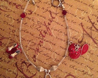 Red Hat Ladies Society Charm Bracelet, Shoes Hat Purse