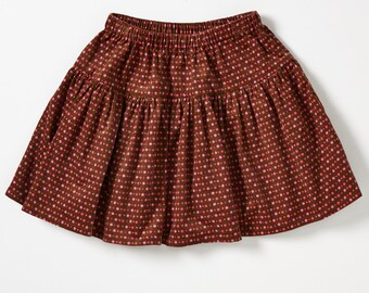 Handmade Girl's Cotton Corduroy Skirt - For 7 Year Old -Magical Garden no.320 -