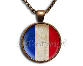 French Flag Vintage Style Glass Dome Pendant or with Chain Link Necklace  SM120