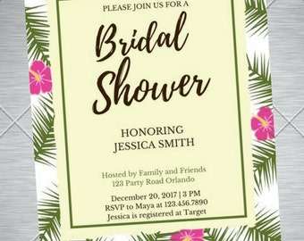 Tropical Themed Bridal Shower Invitation