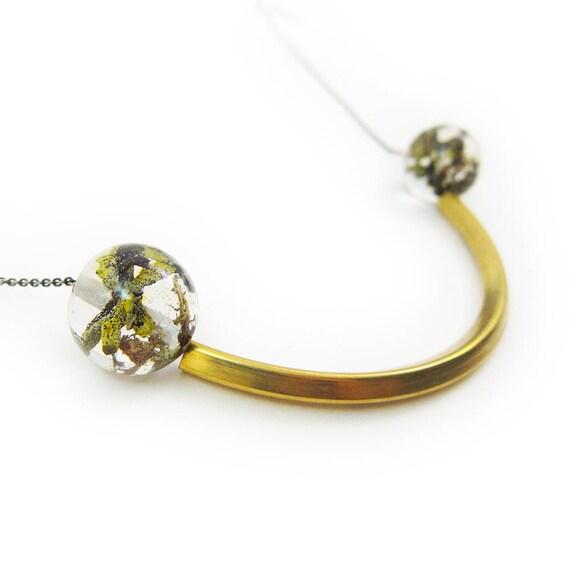 Geometric Terrarium Sphere and Brass Statement Necklace