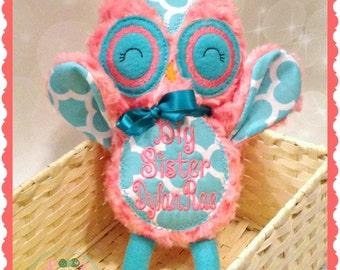 Personalized Owl Stuffie - Monogram Stuffed Animal - Baby Shower Gift - Birthday gift - New Baby - Birth Stats Owl -
