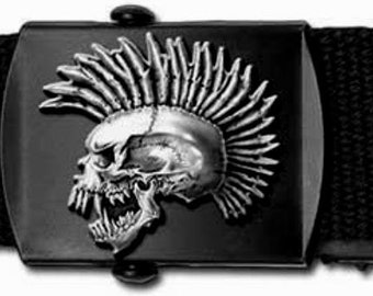 EXPLOITED PUNK SKULL licensed pewter web belt and buckle by Alchemy Poker
